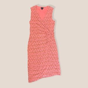 BOLD Elements Sleeveless Dress Stretchy Form Fitting, Coral and Gold Rope Print